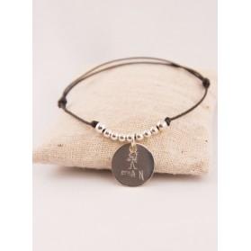 Bracelet Cordon Multi Perles & Médaille Argent Gravée