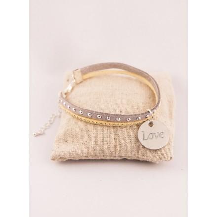 Bracelet Personnalise Suédine Beige & Médaille Gravée