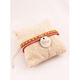 Bracelet Personnalise Suédine Rouge & Médaille Gravée
