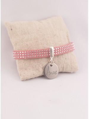 Bracelet Personnalisé Suédine Rose & Médaille Acier Gravée