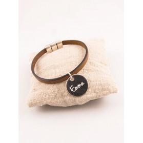 Bracelet Cuir & Médaille Ronde Acier Gravée Personnalisée