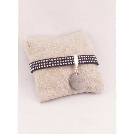 Bracelet Personnalisé Suédine Noire & Médaille Acier Gravée