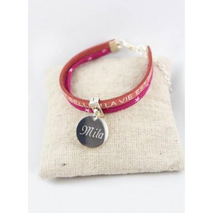 Bracelet La Vie Est Belle Rose & Médaille Personnalisée Gravée