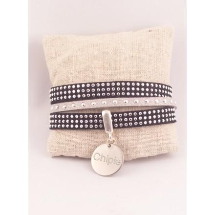 Bracelet Personnalisé Double Suédine Noire & Médaille Acier Gravée