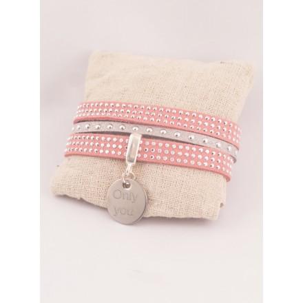 Bracelet Personnalisé Double Suédine Rose & Médaille Acier Gravée