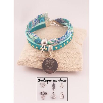 Manchette Liberty/Suédine Sweet Blue Médaille Acier Gravée