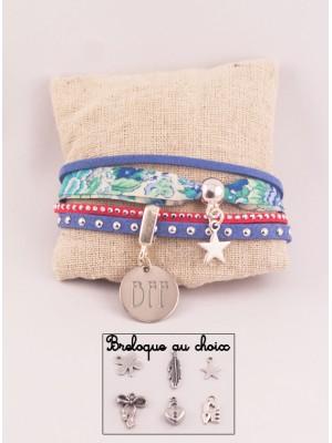 Manchette Liberty/Suédine Red & Blue Médaille Acier Gravée