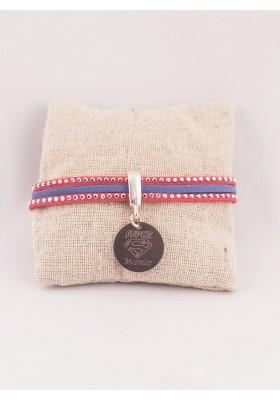 Bracelet Personnalisé Suédine Rouge Bleu & Médaille Gravée