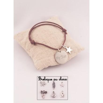 Bracelet Personnalisé Cordon Ajustable Medaille Ronde Acier Gravée