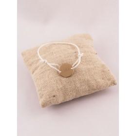 Bracelet Enfant Petite Medaille 2 Trous Plaqué Or Gravée