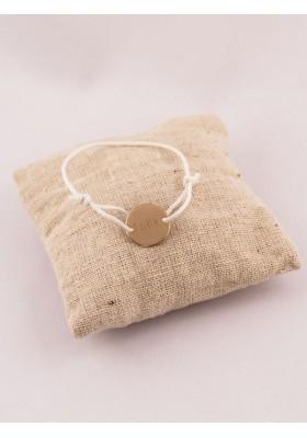 Bracelet enfant petite médaille plaque or 2 trous gravée