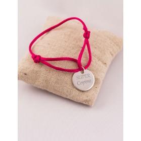 Bracelet Cordon Médaille Ronde Argent Gravée