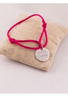 Bracelet Cordon Médaille Ronde Argent