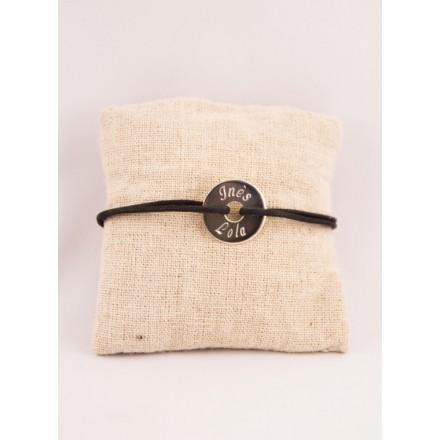 Bracelet Cordon Medaille Argent Ronde Gravée