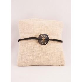 Bracelet Cordon Homme Medaille Argent Cible Gravée