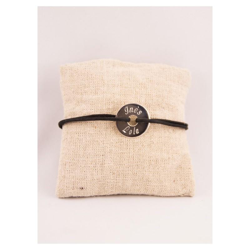67c426f3b0520 Bracelet Cordon Homme Medaille Argent Cible Gravée - Fabrique A Trésors