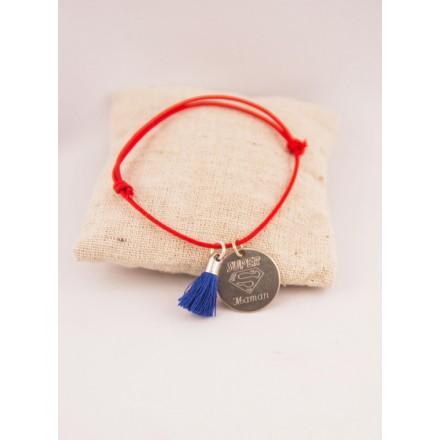 Bracelet Cordon Ajustable Pompon & Medaille Ronde Acier Gravée