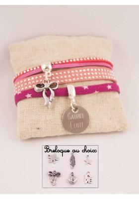 Manchette Liberty &Suédine Rose Cloutée Médaille Acier Gravée