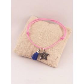 Bracelet Cordon Ajustable Pompon & Medaille Etoile Acier Initiale Gravée
