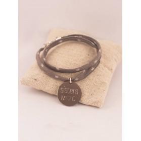Bracelet Tissu Etoiles 2 Tours Medaille Ronde Acier Etoile Gravée Personnalisée