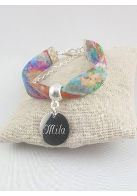 Bracelet Liberty Multicolore Personnalisé & Médaille Gravée