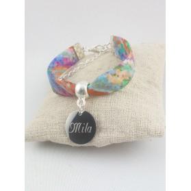 Bracelet Enfant Liberty Multicolore Personnalisé & Médaille Gravée