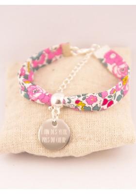 Bracelet Liberty Personnalisé Betsy Pivoine & Médaille Gravée
