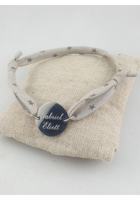 Bracelet Homme Cordon & Cible Argent Gravé
