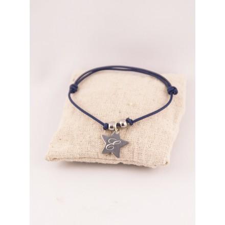 Bracelet Cordon Ajustable Perles & Medaille Etoile Acier Initiale Gravée