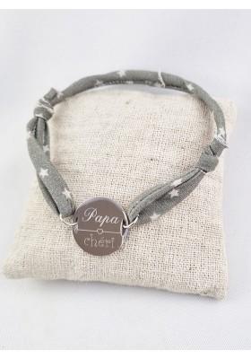 Bracelet Liberty Ajustable & Jeton Acier Gravé Personnalisé