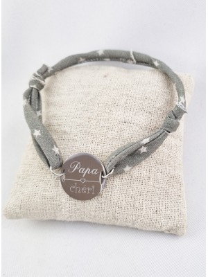 Bracelet Ajustable & Jeton Papa Chéri Personnalisable