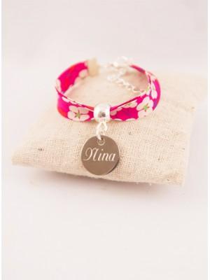 Bracelet Enfant Liberty Personnalisé Mitsi Red & Médaille Gravée