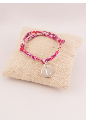 Bracelet Liberty Enfant Ajustable Petite Medaille Argent Ronde Gravée