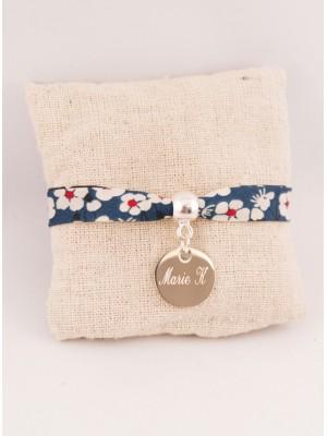Bracelet Liberty Personnalisé Mitsi Blue & Médaille Gravée