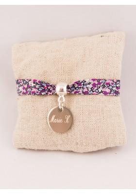 Bracelet Liberty Personnalisé Pepper Violet & Médaille Gravée