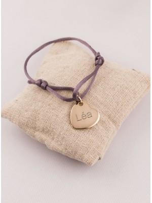 Bracelet Cordon Médaille Coeur Plaqué Or