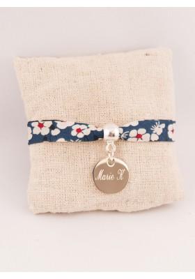 Bracelet Enfant Liberty Personnalisé Mitsi Blue & Médaille Gravée