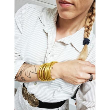 Jonc Bouddhiste Doré Mantra & Médaille Gravée Qualité Supérieure