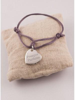 Bracelet Cordon Médaille Coeur Argent