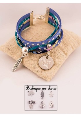 Manchette Suédine & Liberty Bleu Médaille Acier Gravée