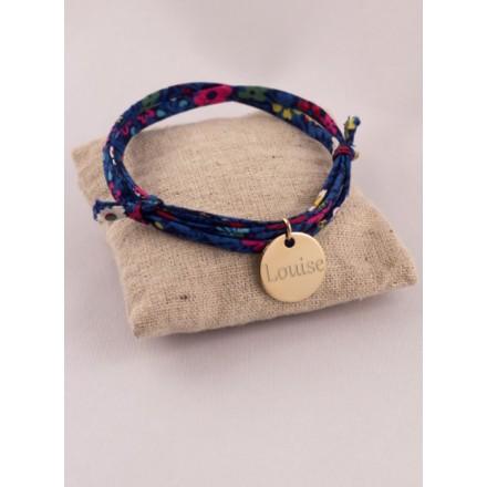Bracelet Liberty MedaillePlaque Or Ronde Gravée