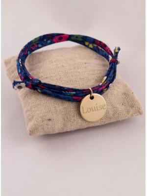 Bracelet Liberty 3 Tours Medaille Plaqué Or Ronde Gravée