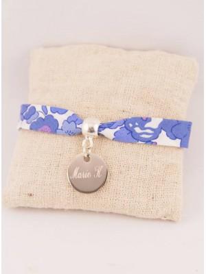 Bracelet Liberty Personnalisé Betsy Indigo & Médaille Gravée