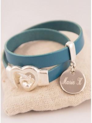Bracelet 2 Tours Cuir Turquoise Médaille Acier Ronde Gravée Personnalisée