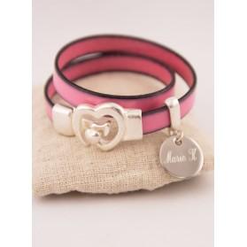 Bracelet 2 Tours Cuir Rose Médaille Acier Ronde Gravée Personnalisée