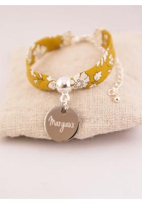 Bracelet Enfant Liberty Personnalisé Capel Ocre & Médaille Gravée