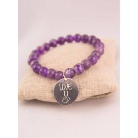 Bracelet Amethyste & Médaille Acier Love U Personnalisée Gravée