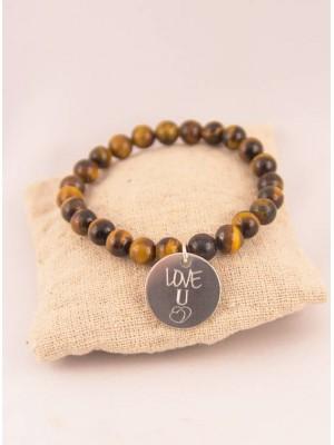 Bracelet Oeil de Tigre & Médaille Acier Love U Personnalisée Gravée