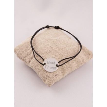 Bracelet Cordon & Cible Argent Gravé