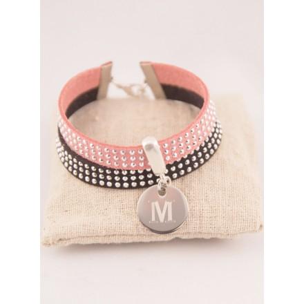 Bracelet Personnalisé Suédine Noire/Rose & Médaille Acier Gravée